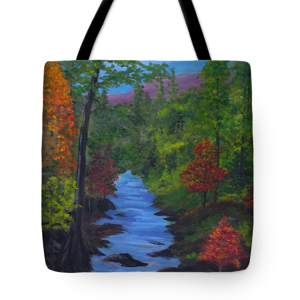 Autumn Tote Bag featuring the painting Colors Of The Blue Ridge by Sally Jones