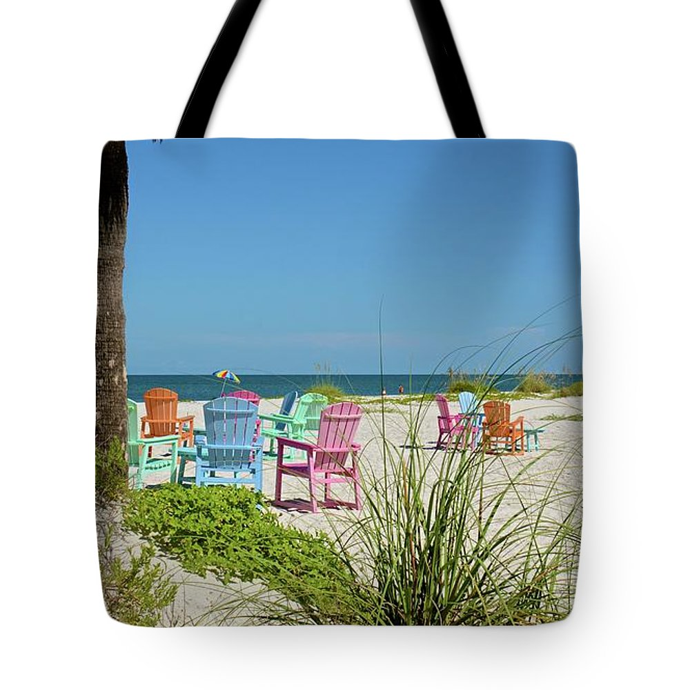 Chairs Tote Bag featuring the photograph Colors Of The Seats by Carol Bradley