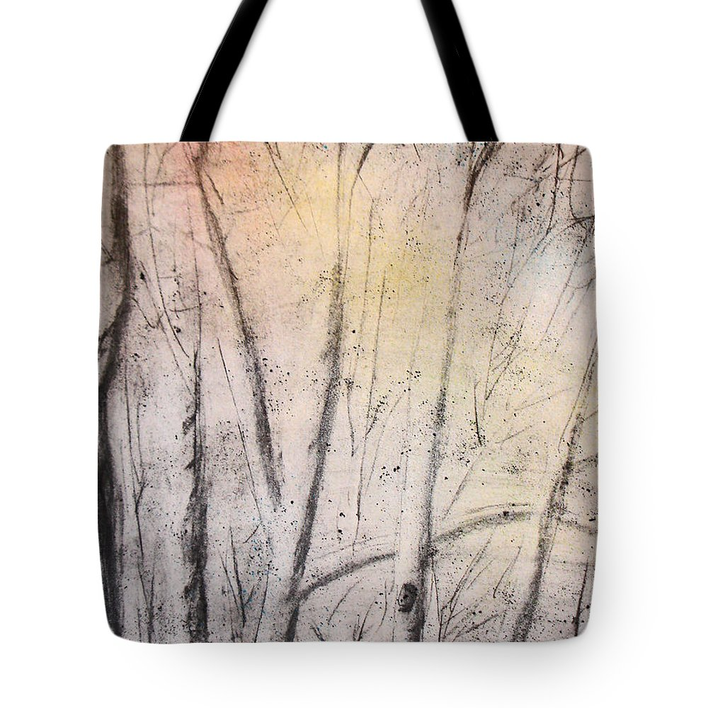 Trees Tote Bag featuring the drawing Colors Of Winter by Shelley Jones