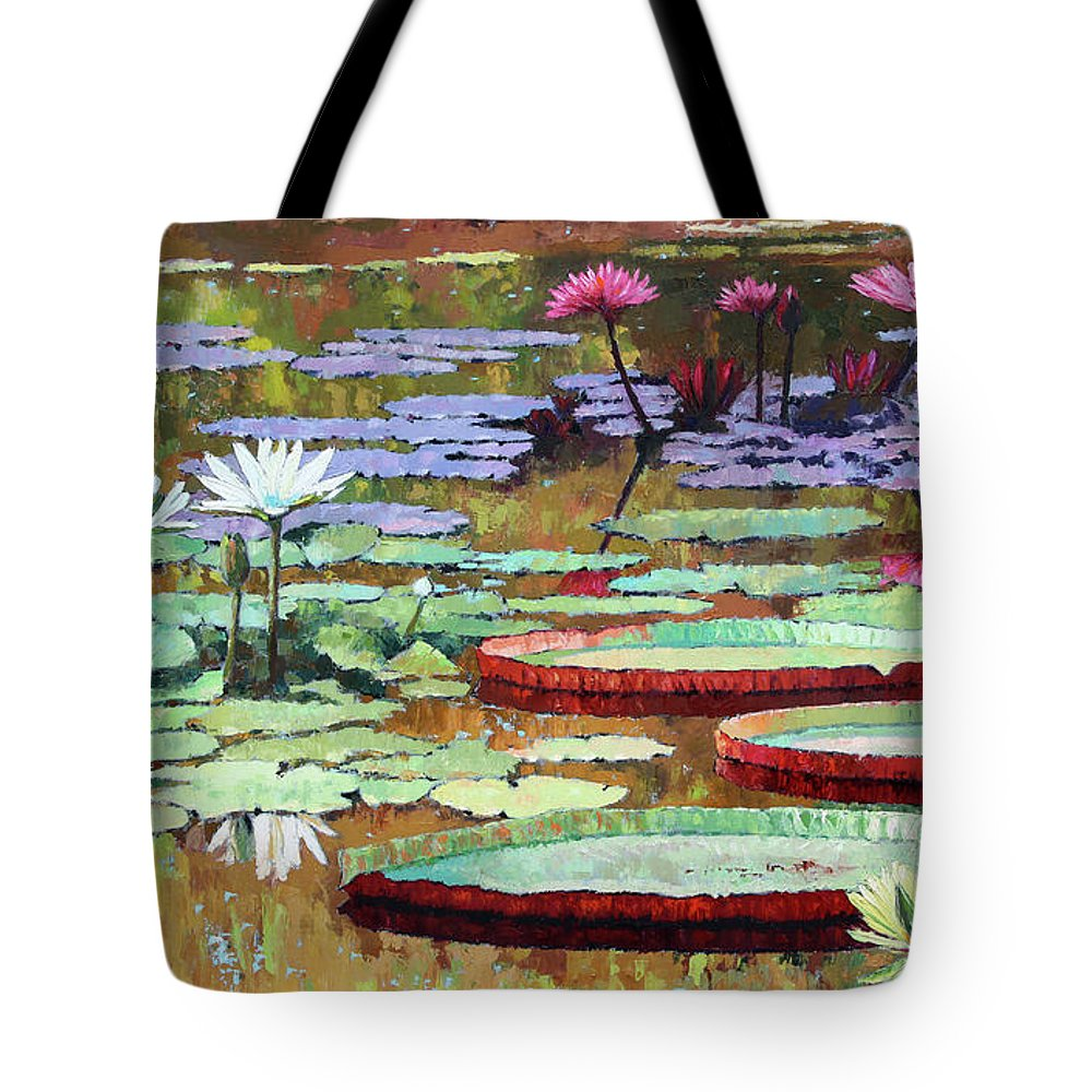Garden Pond Tote Bag featuring the painting Colors on the Lily Pond by John Lautermilch