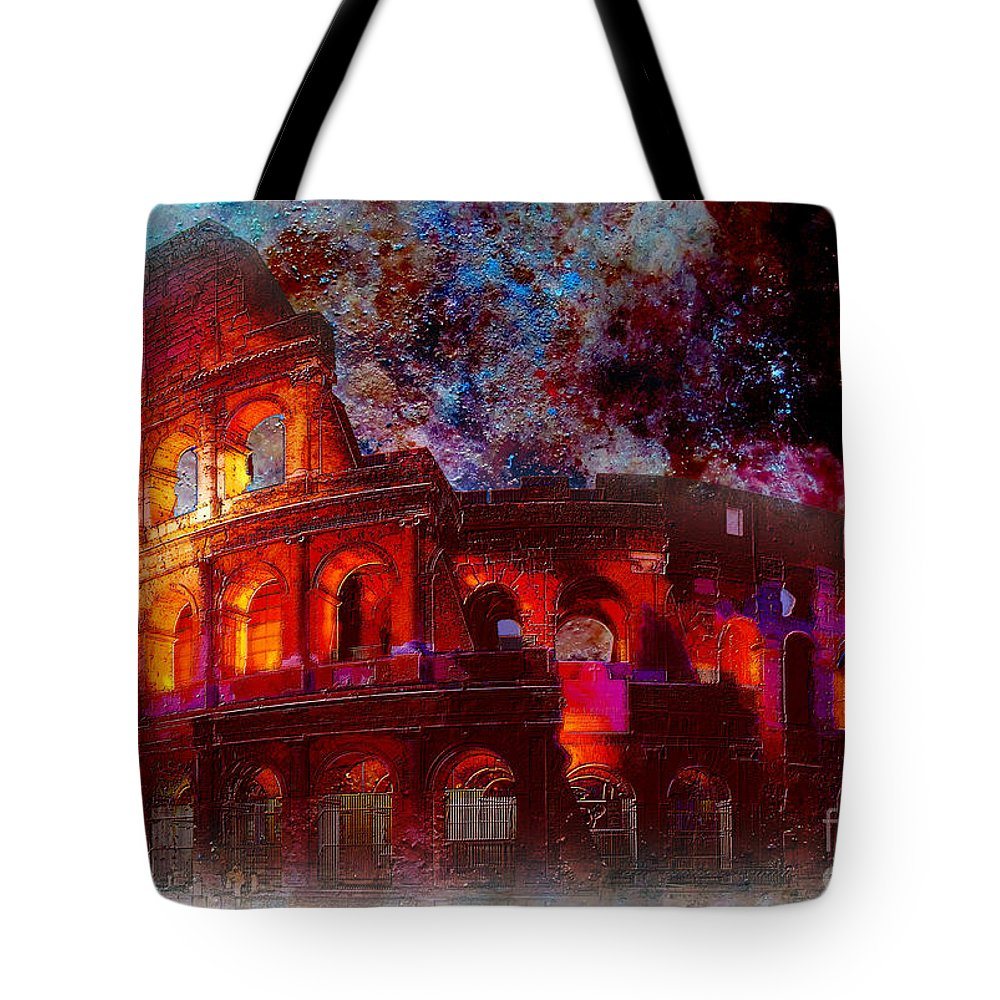 Monument Tote Bag featuring the painting Colosseum Rome Italy  by Gull G
