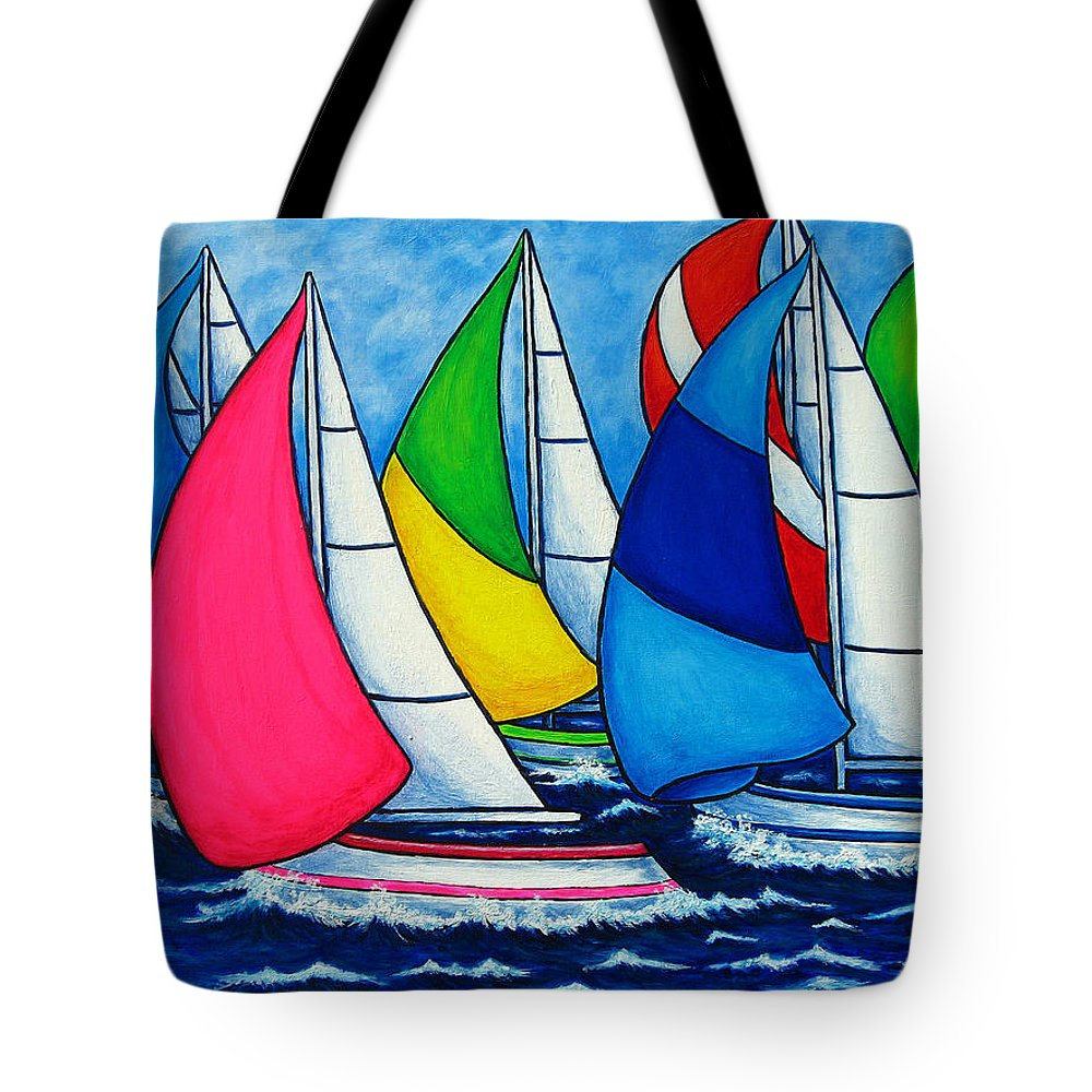 Boats Tote Bag featuring the painting Colourful Regatta by Lisa Lorenz