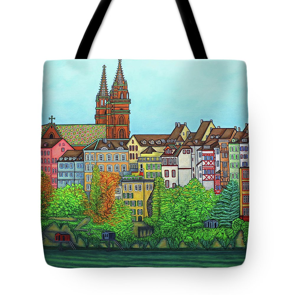 Lisa Lorenz Tote Bag featuring the painting Basel, Colours of Basel by Lisa Lorenz