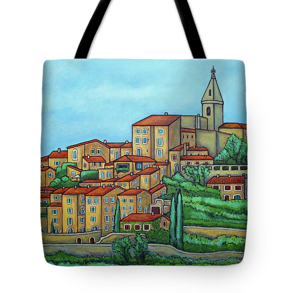 Provence Tote Bag featuring the painting Colours of Crillon-le-Brave, Provence by Lisa Lorenz