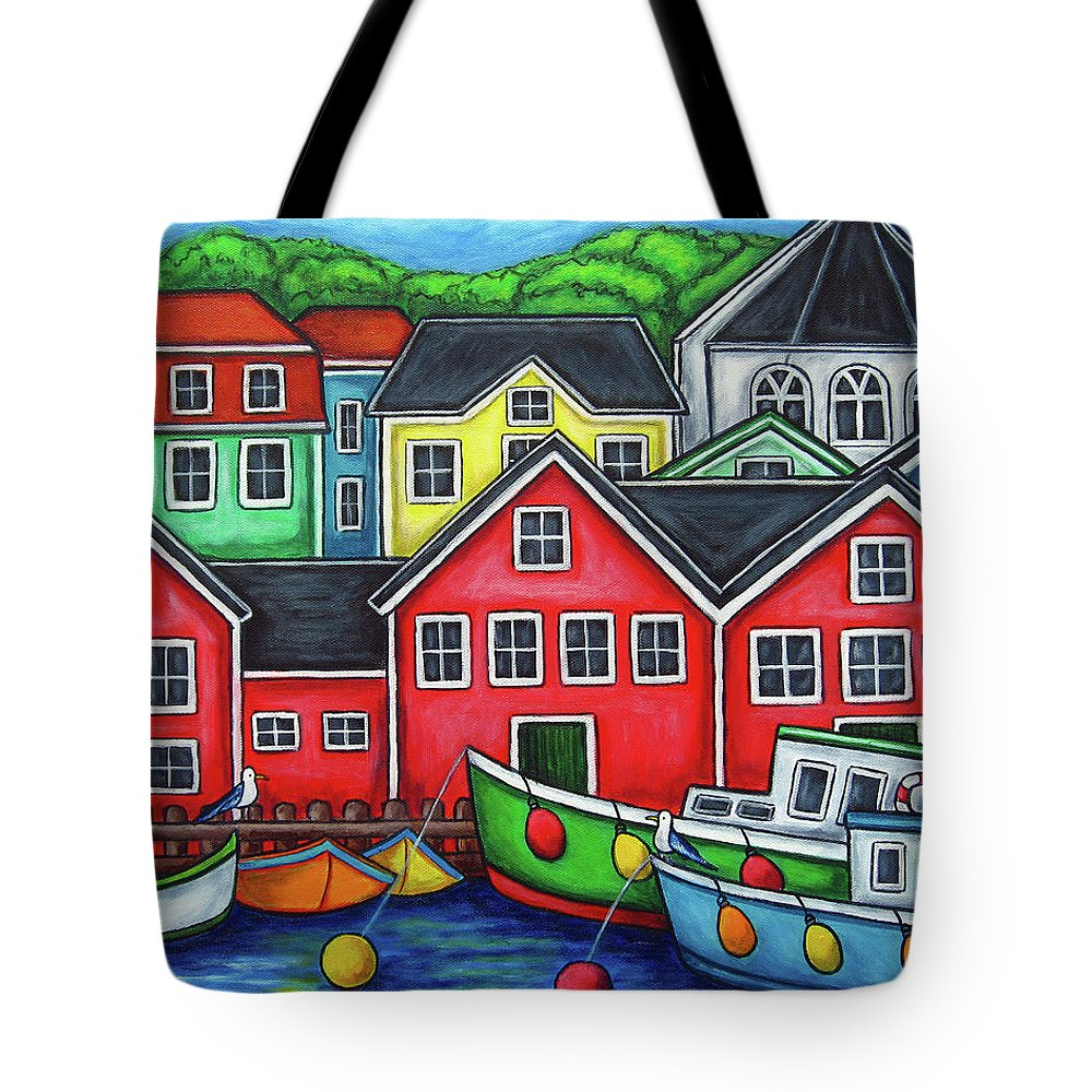 Nova Scotia Tote Bag featuring the painting Colours of Lunenburg by Lisa Lorenz