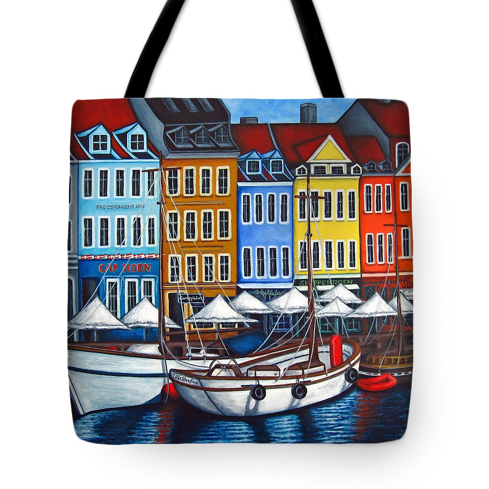 Nyhavn Tote Bag featuring the painting Colours of Nyhavn by Lisa Lorenz