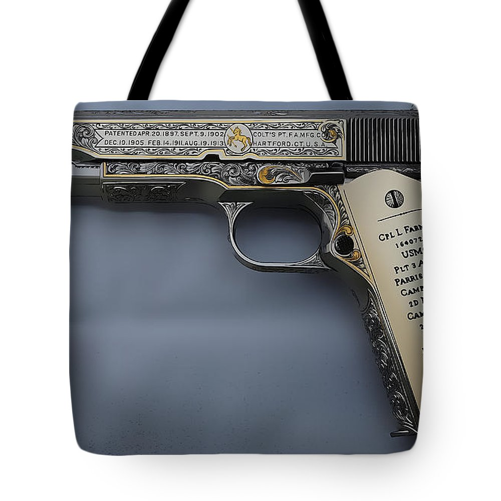 Colt 1911 Tote Bag featuring the digital art Colt 1911 by Lora Battle