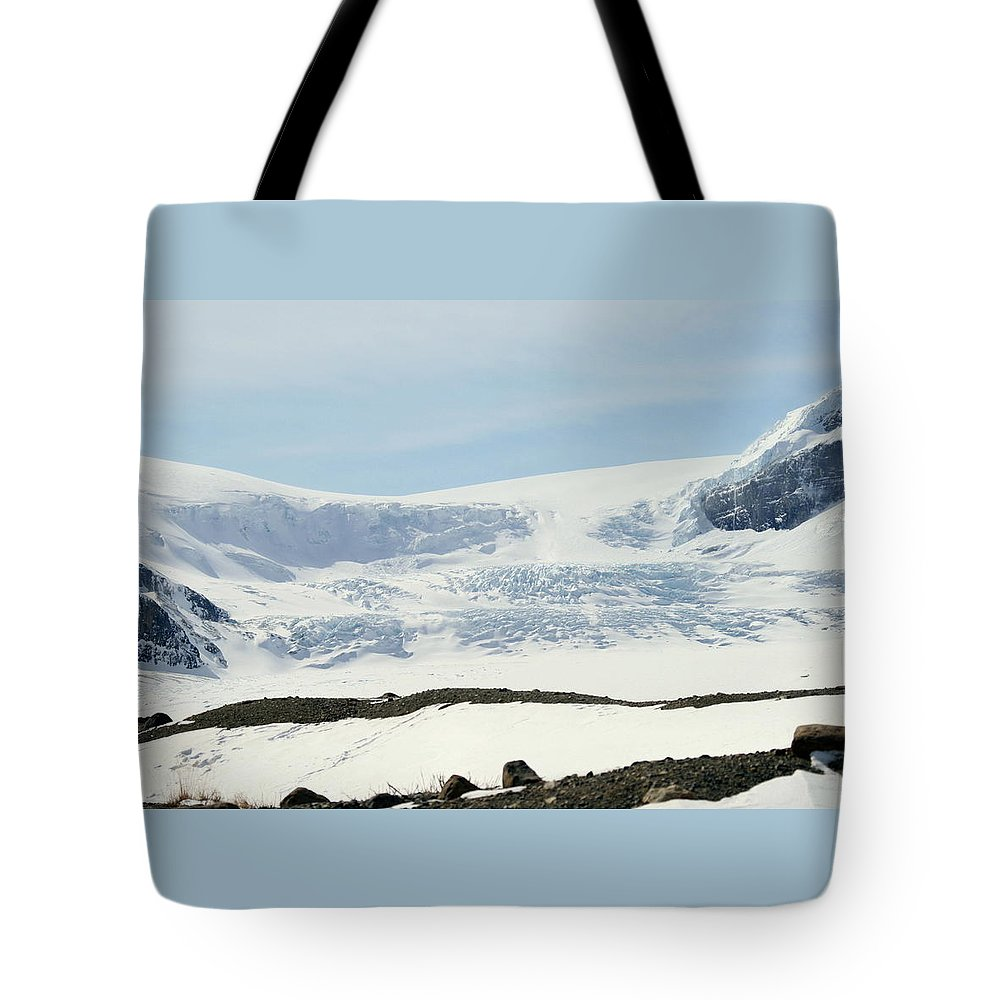 Glacier Tote Bag featuring the photograph Columbia Icefields by Tiffany Vest