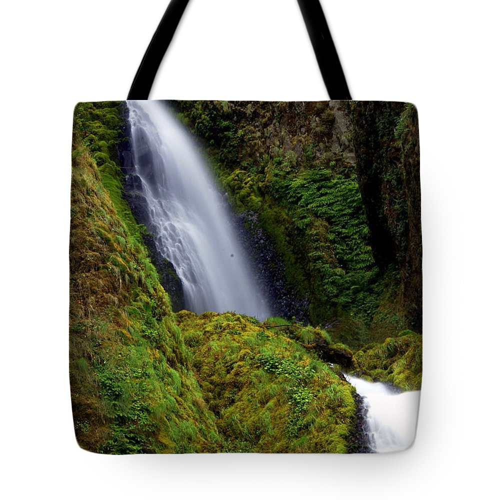 Waterfall Tote Bag featuring the photograph Columbia River Gorge Falls 1 by Marty Koch
