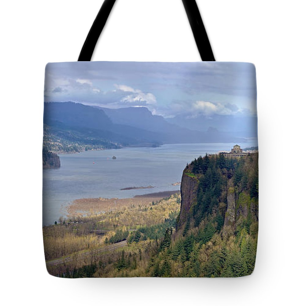 Rainbow Tote Bag featuring the photograph Columbia River Gorge Oregon State Panorama. by Gino Rigucci
