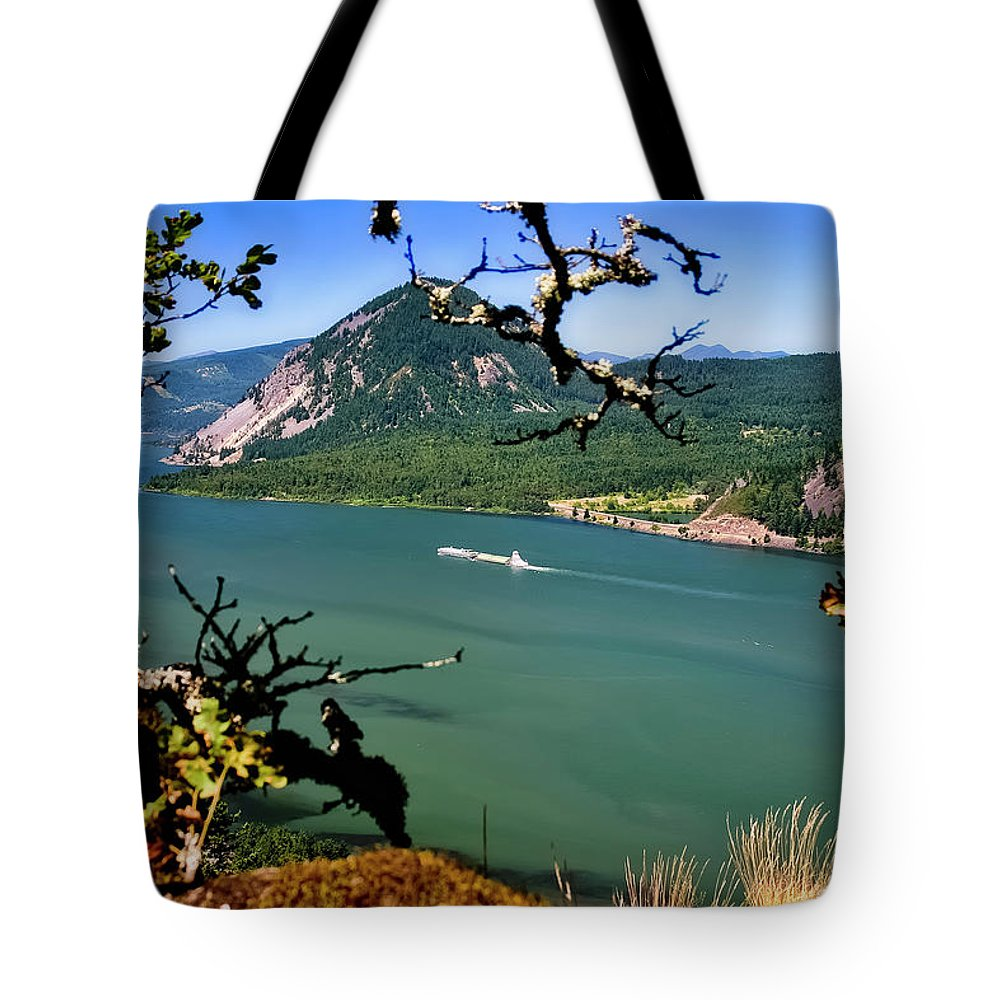 Columbia Gorge Tote Bag featuring the photograph Columbia River Traffic by Albert Seger