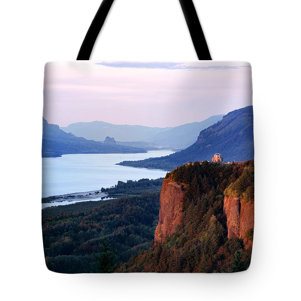 Sunset Tote Bag featuring the photograph Columbia River Vista House by Mary Jo Allen