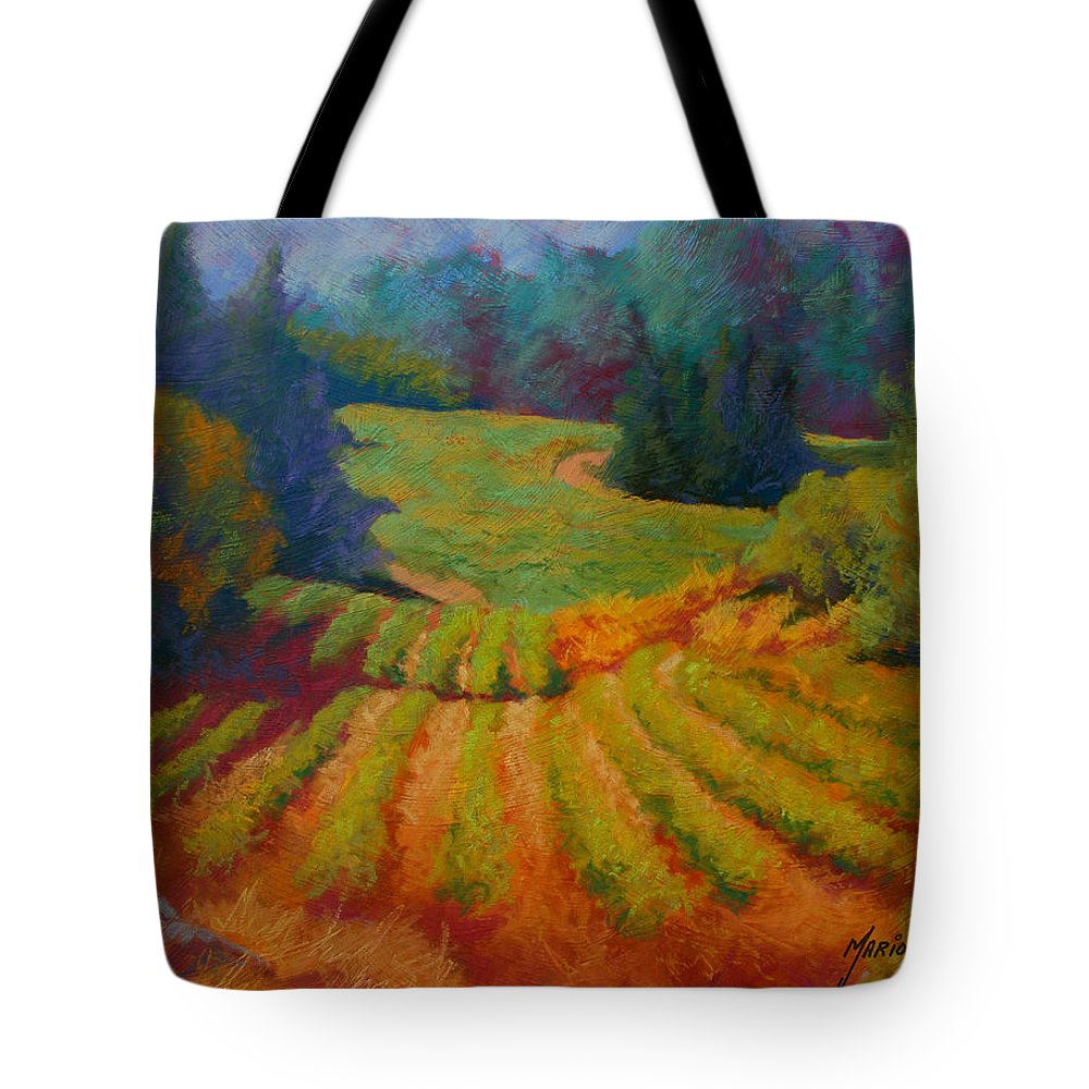 Pastel Tote Bag featuring the painting Columbia Valley Vineyard by Marion Rose