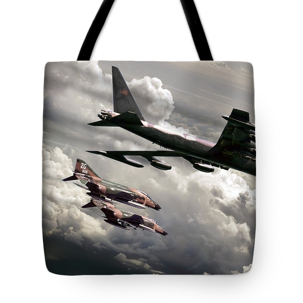 Aviation Tote Bag featuring the digital art Combat Air Patrol by Peter Chilelli