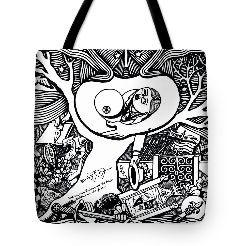 Drawing Tote Bag featuring the drawing Come Ancient And Identical Night by Jose Alberto Gomes Pereira