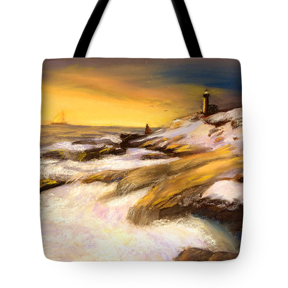 Seascape Tote Bag featuring the painting Come Home by Gail Kirtz