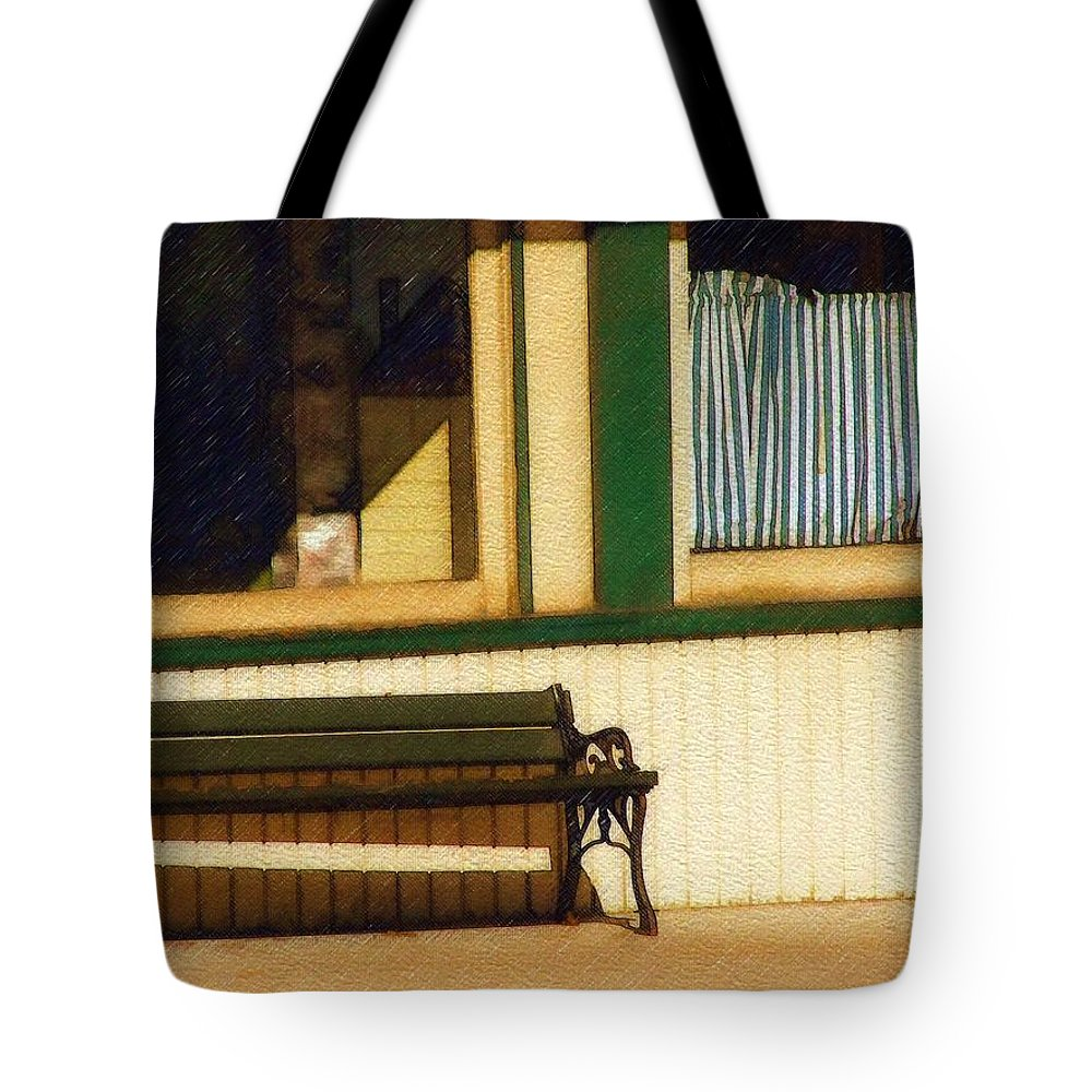 Bench Tote Bag featuring the photograph Come Sit A Spell by Sandy MacGowan