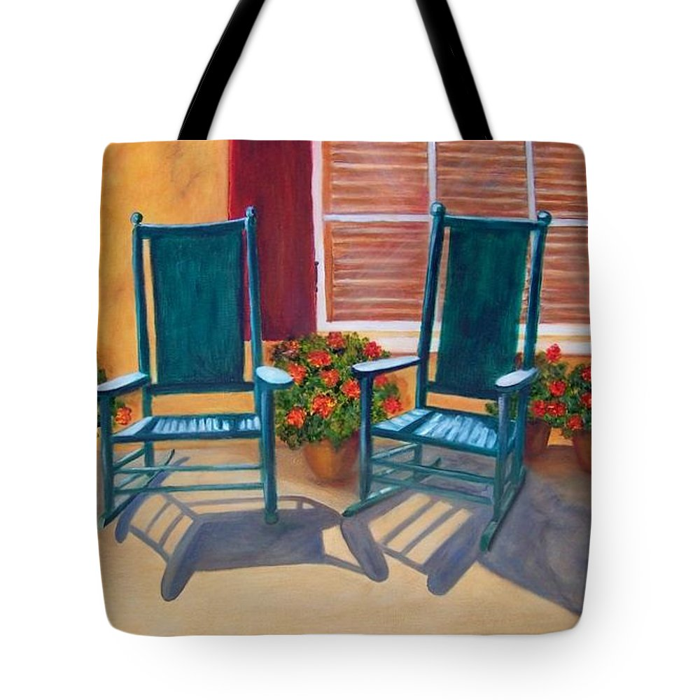 Landscape. Rocking Chairs Tote Bag featuring the painting Come Sit a Spell. SOLD by Susan Dehlinger