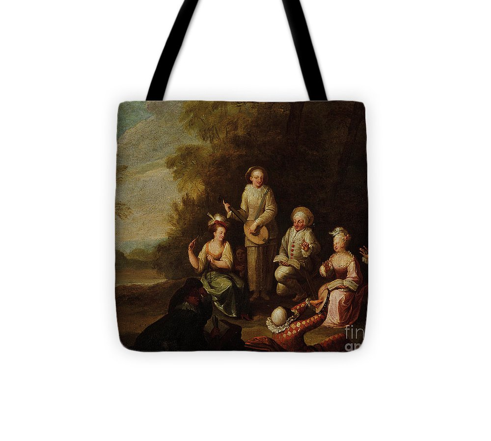 Spoede Tote Bag featuring the painting Comedie Del Arte by Jean Jacques Spoede