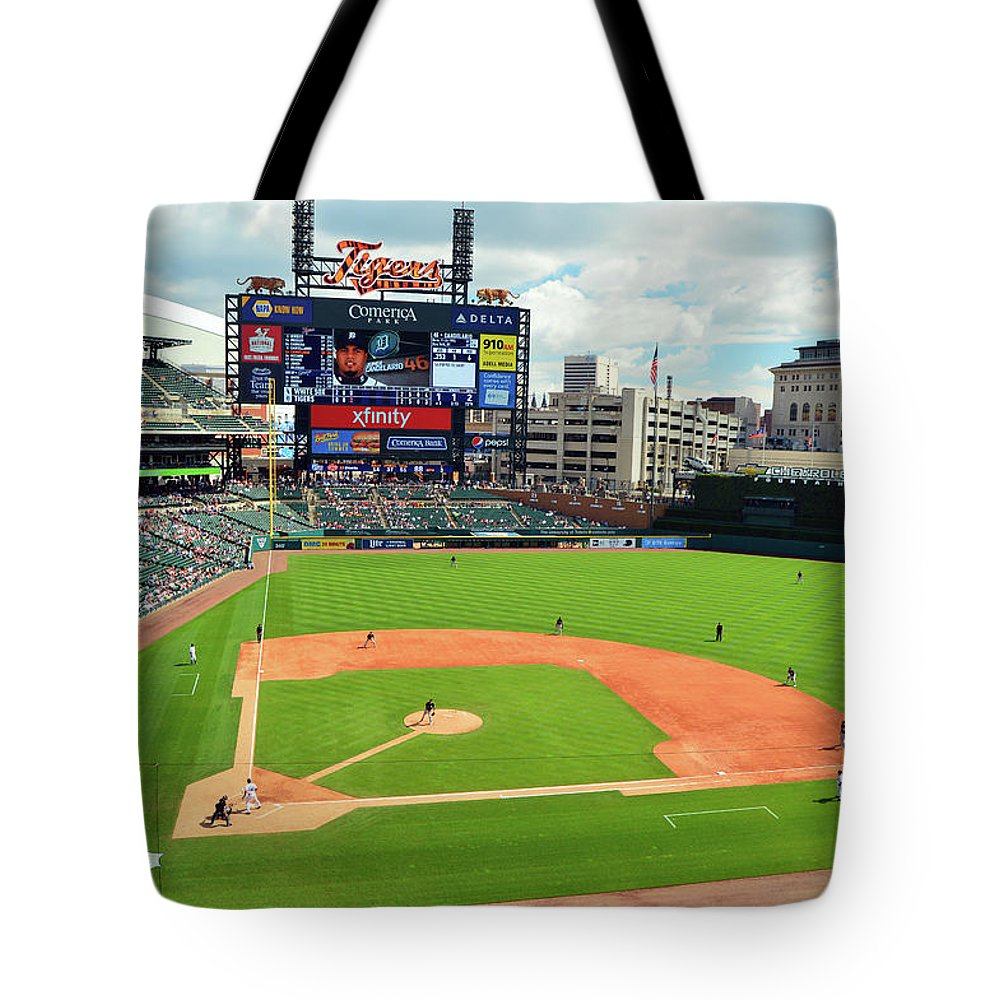Detroit Tote Bag featuring the photograph Comerica Park, Home Of The Detroit Tigers by James Kirkikis