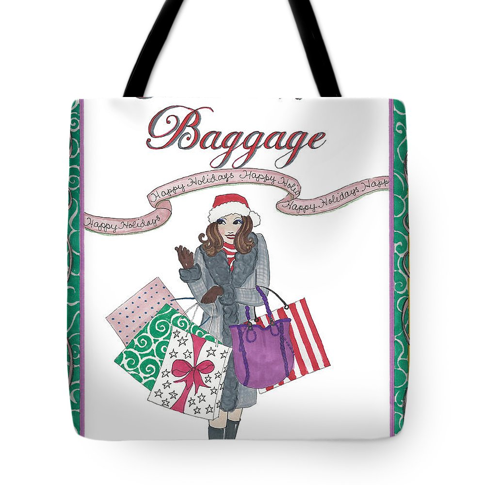 Holiday Tote Bag featuring the mixed media Comes with Baggage - Holiday by Stephanie Hessler