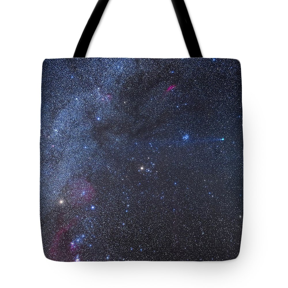 Auriga Tote Bag featuring the photograph Comet Lovejoy In The Winter Sky by Alan Dyer
