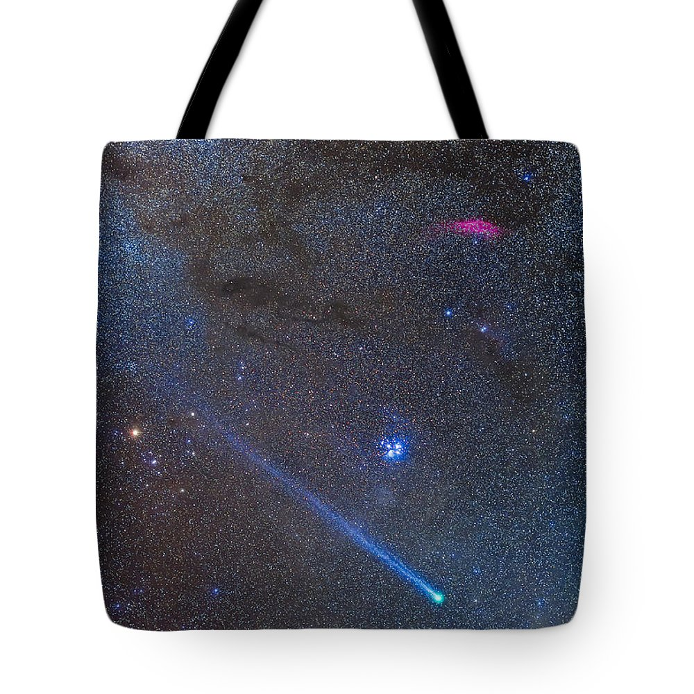 Aldebaran Tote Bag featuring the photograph Comet Lovejoys Long Ion Tail In Taurus by Alan Dyer