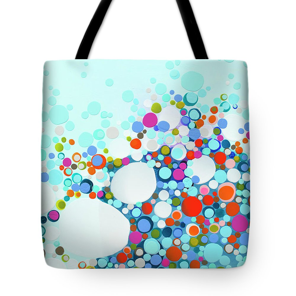 Abstract Tote Bag featuring the painting Comfortable In Chaos by Claire Desjardins
