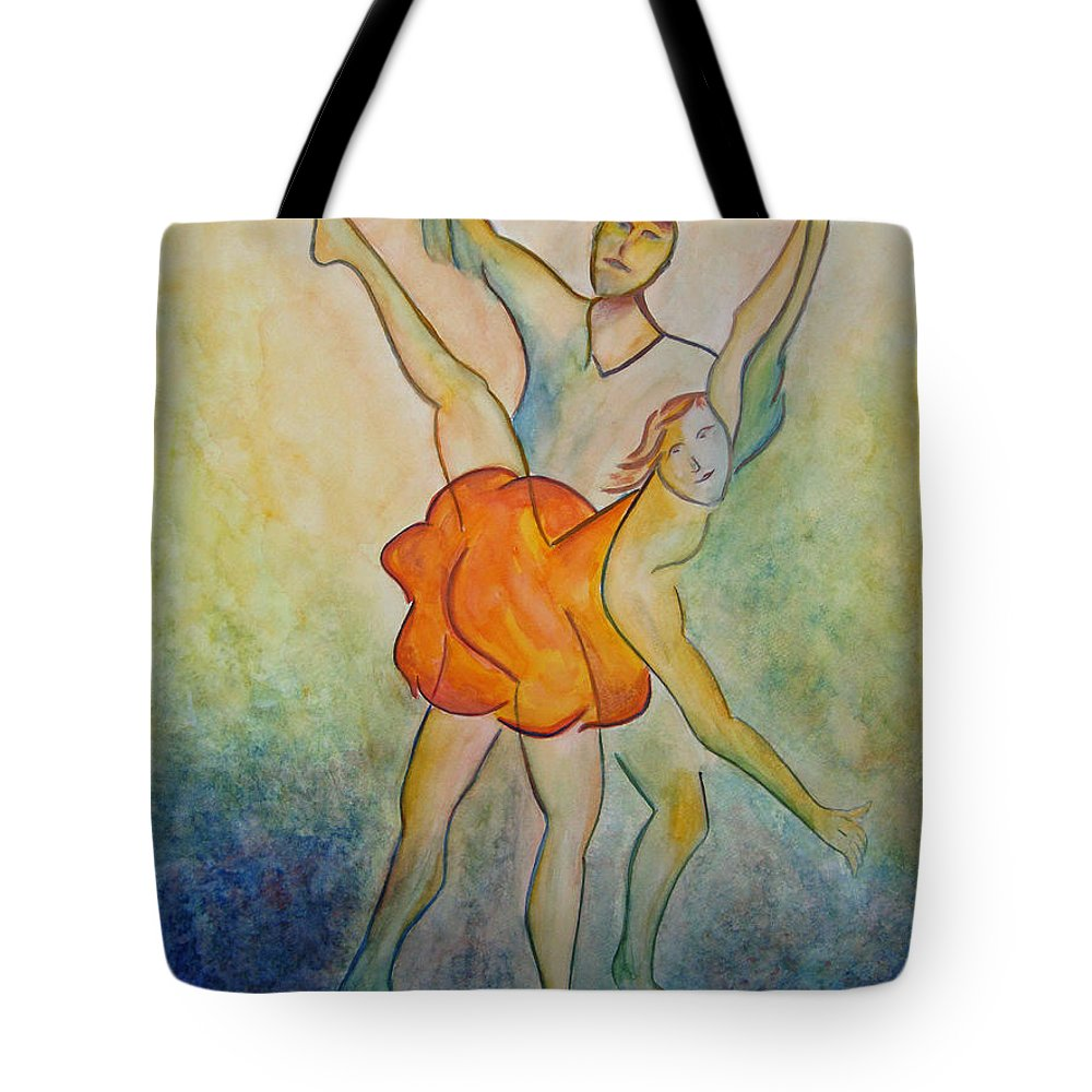 Ballet Tote Bag featuring the painting Comic Ballet by Donna Blackhall