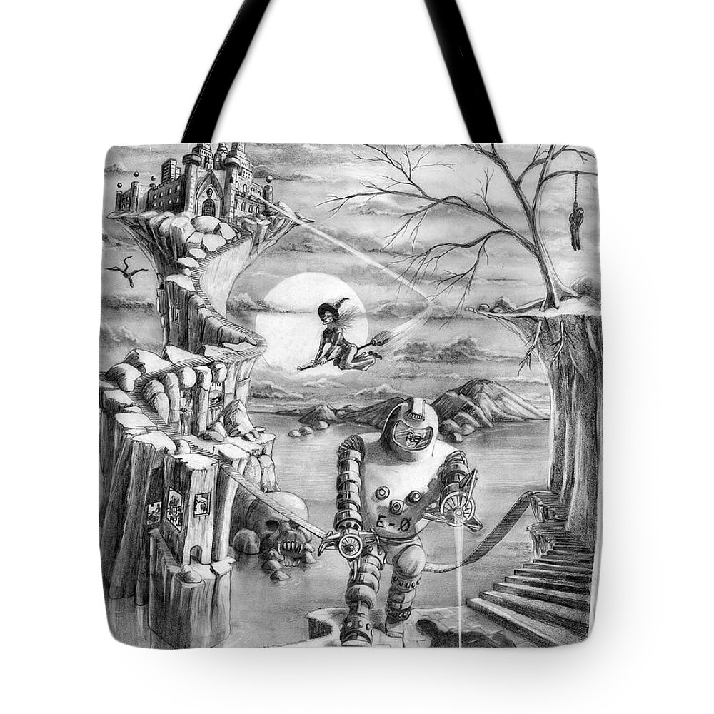 Witch Tote Bag featuring the drawing Comic Book Cover by Murphy Elliott