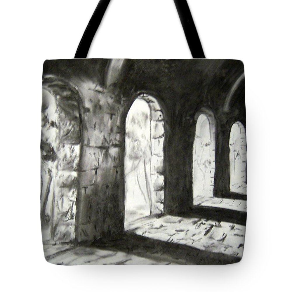 Charcoal Tote Bag featuring the drawing Coming Forward by Alice Chen