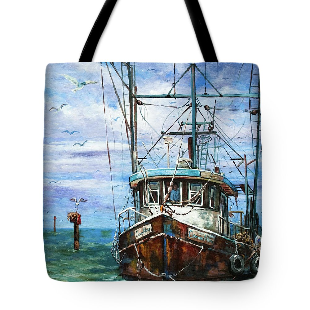 Shrimp Boat Tote Bag featuring the painting Coming Home by Dianne Parks