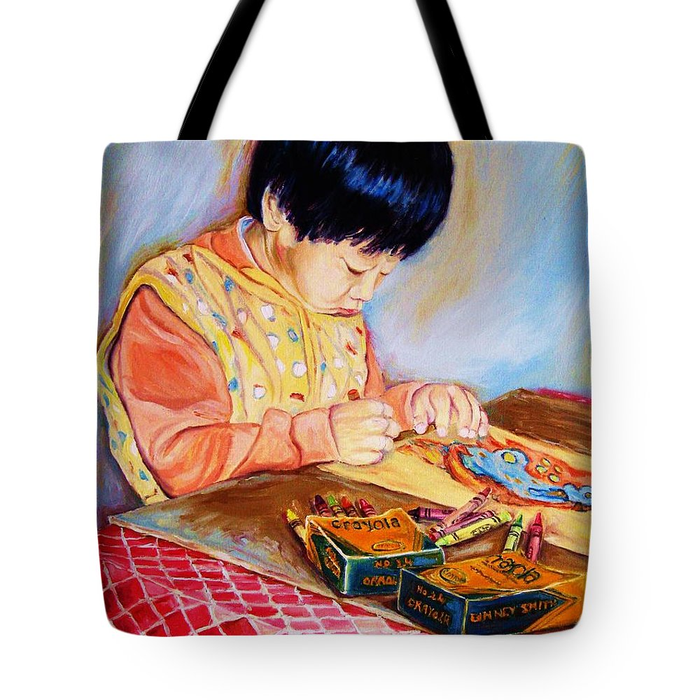 Beautiful Child Tote Bag featuring the painting Commission Portraits Your Child by Carole Spandau