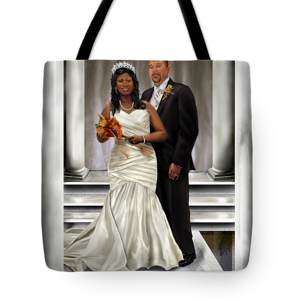 Wedding Tote Bag featuring the painting Commissioned Wedding Portrait by Reggie Duffie