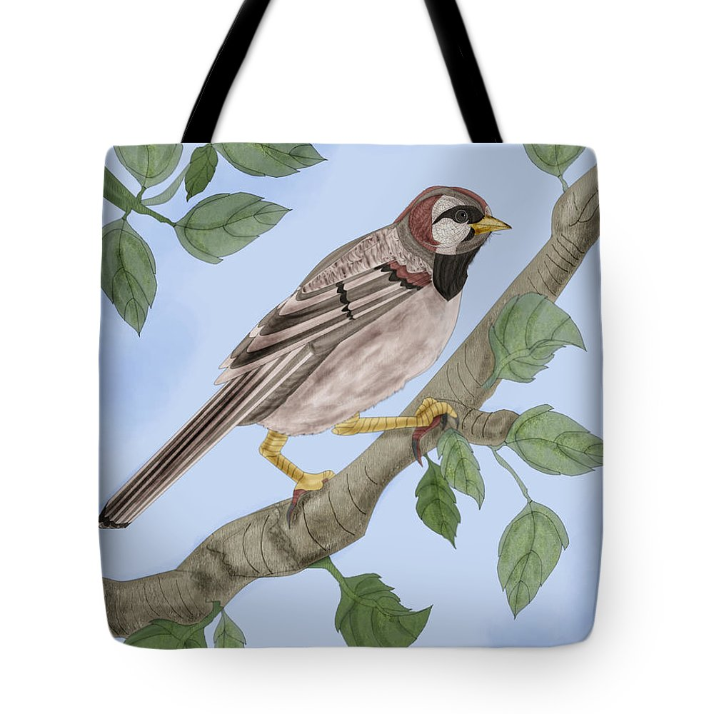 Sparrow Tote Bag featuring the painting Common House Sparrow by Anne Norskog