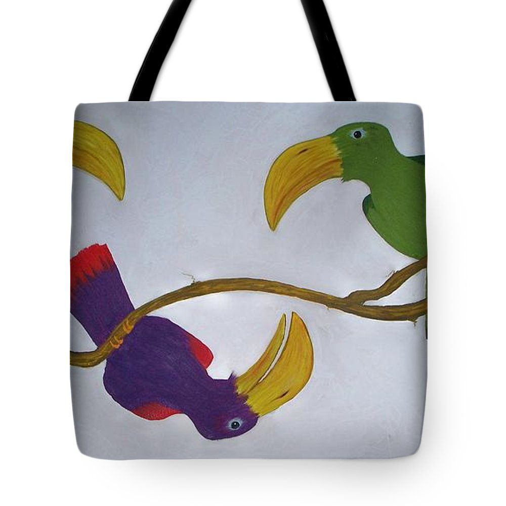 Birds Tote Bag featuring the painting Community Stick by Patrick Trotter