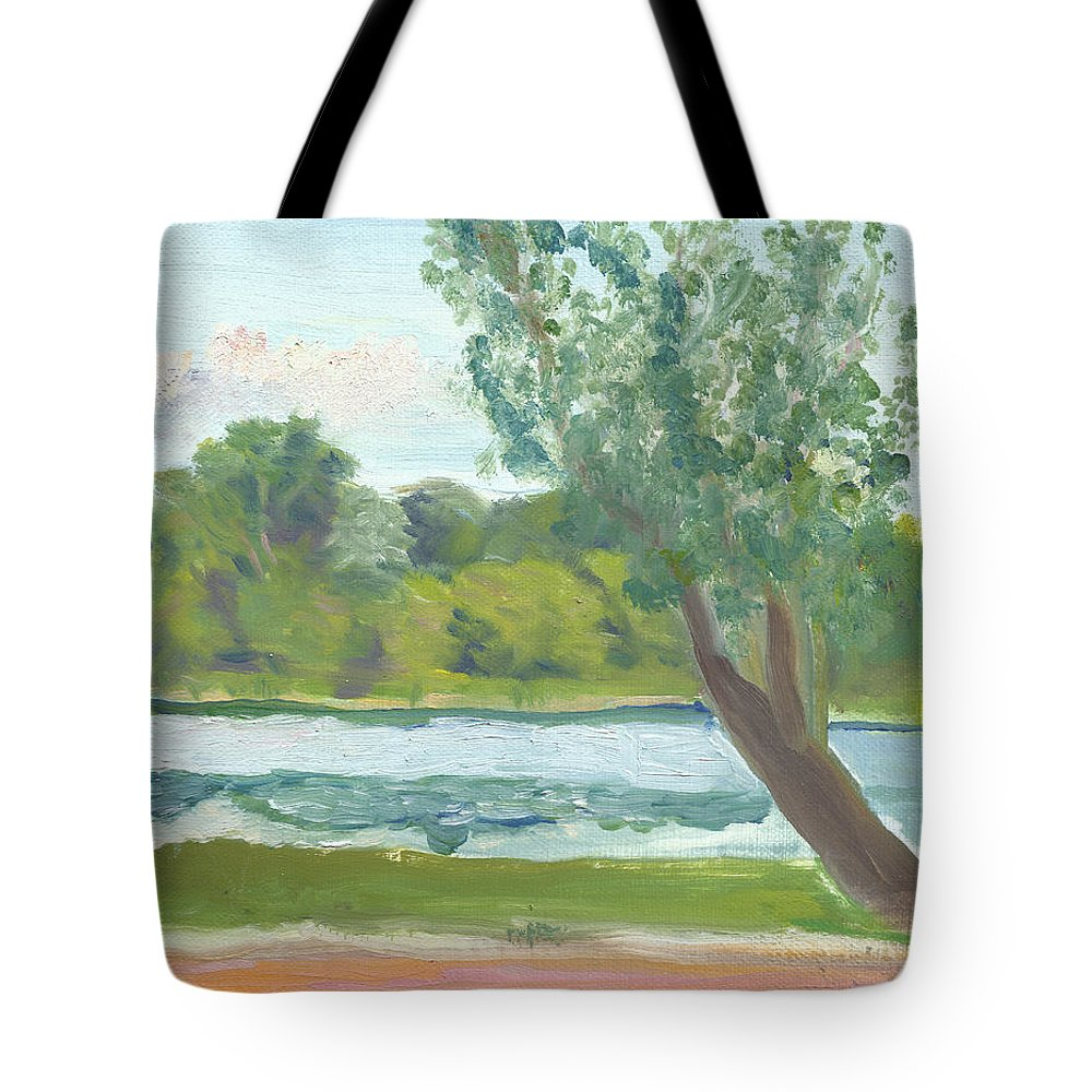 Como Park Tote Bag featuring the painting Como Lake By The Pavilion by Paul Thompson