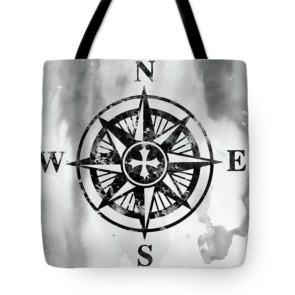 Compass Tote Bag featuring the digital art Compass-black by Erzebet S