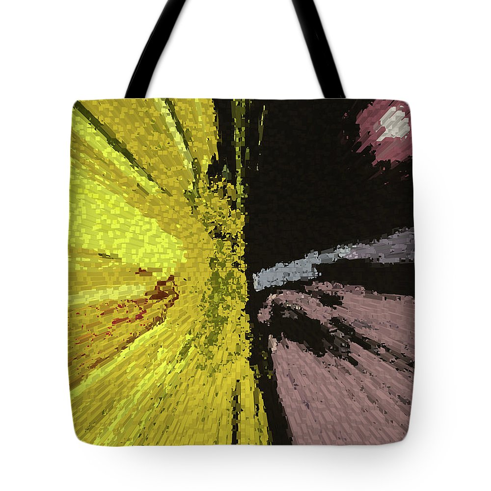 Abstract Tote Bag featuring the digital art Competing Suns by Lenore Senior