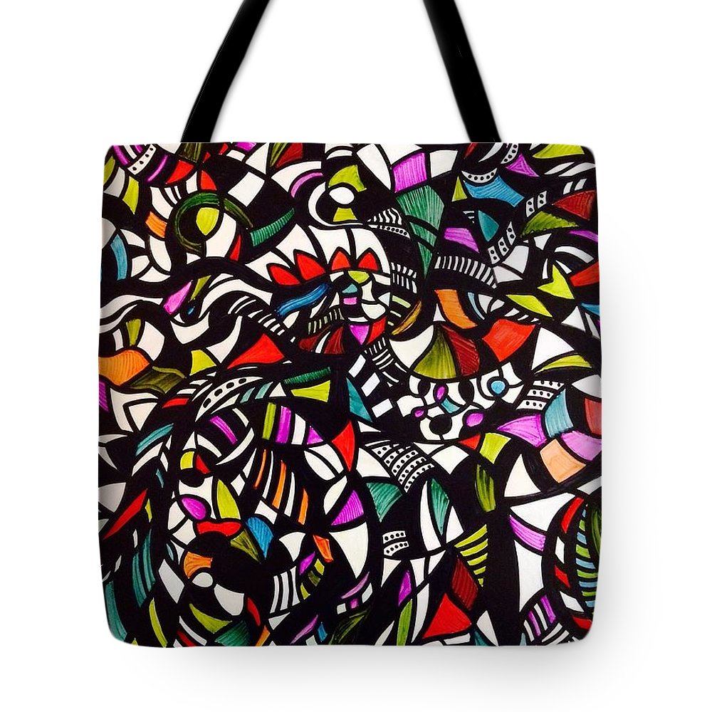 Abstract - Non-objective - Stained Glass - Shapes - Bright Colors - Swirls - Mosaic Tote Bag featuring the painting Complication by Barbara March