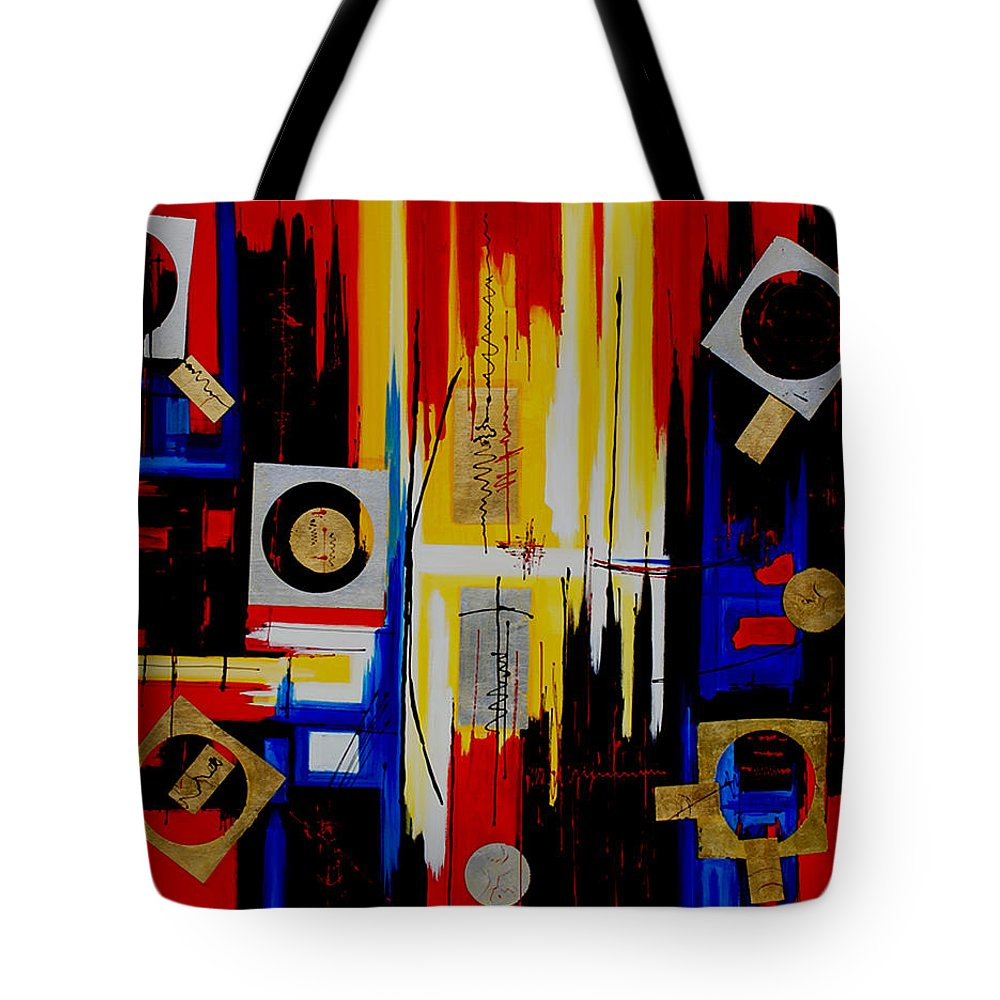 Abstract Tote Bag featuring the painting Composition - 4 - by Miroslav Stojkovic - Miro