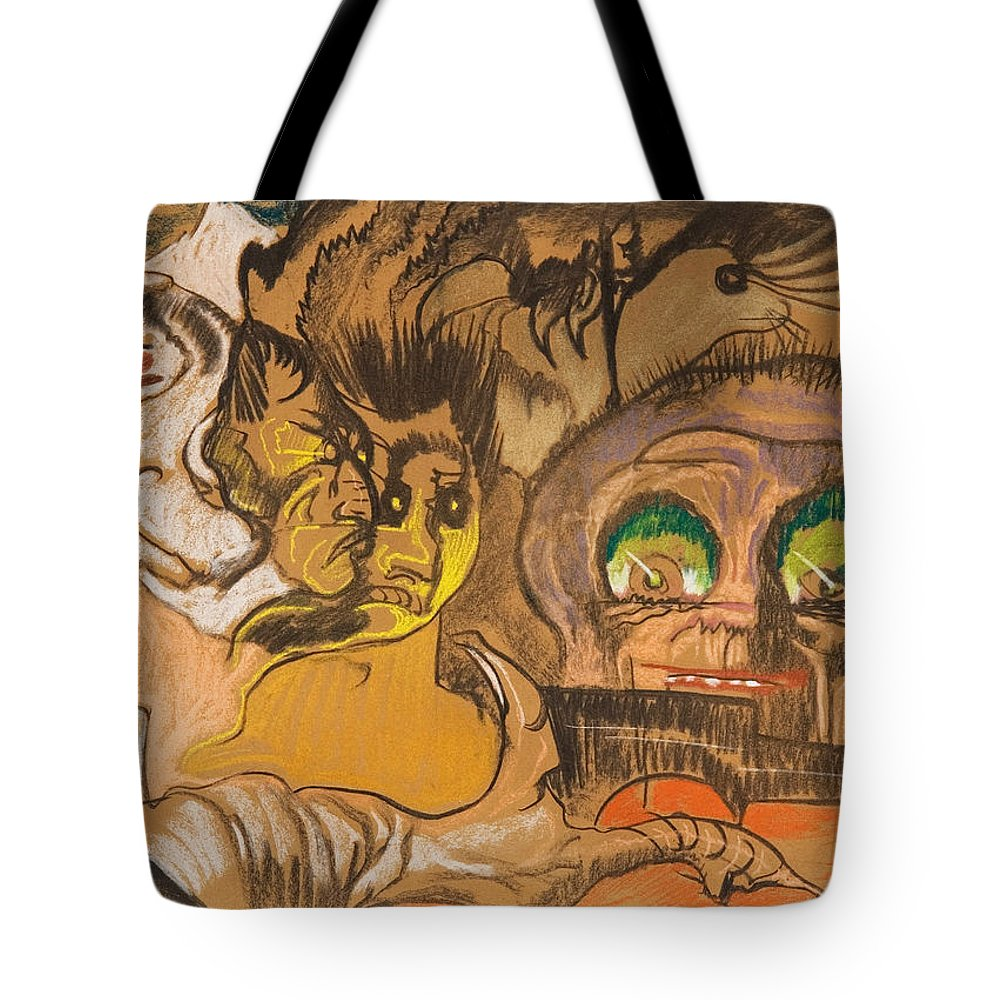 Stanislaw Ignacy Witkiewicz Tote Bag featuring the drawing Composition Green Eye by Stanislaw Ignacy Witkiewicz