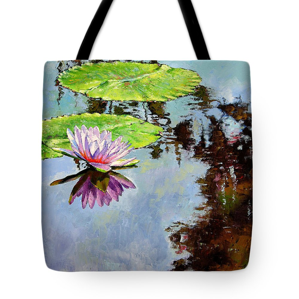 Water Lily Tote Bag featuring the painting Composition Of Beauty by John Lautermilch