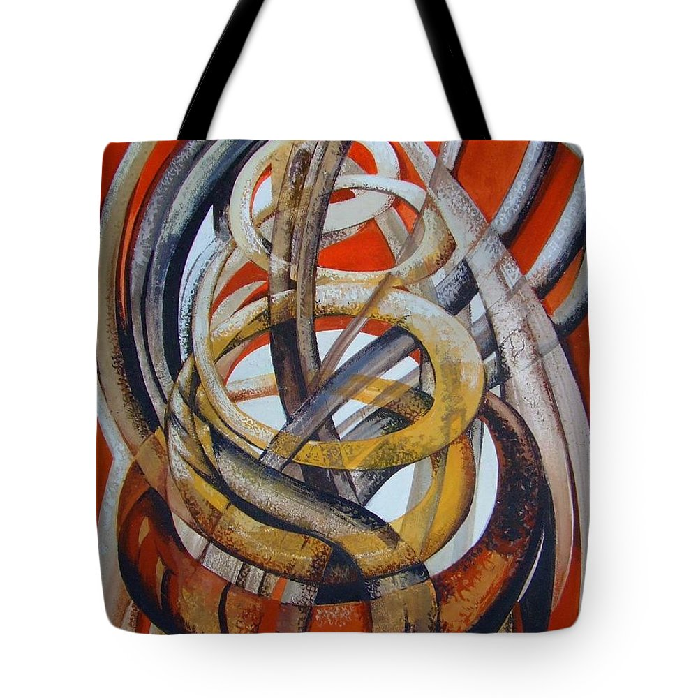 Abstract Tote Bag featuring the painting Composition With Red by Elena Oleniuc