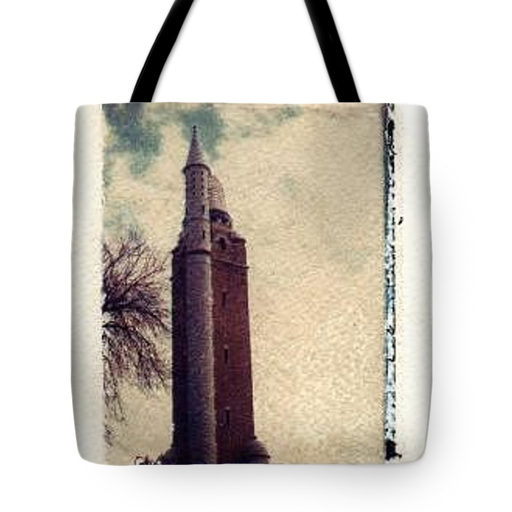 Polaroid Transfer Tote Bag featuring the photograph Compton Water Tower by Jane Linders