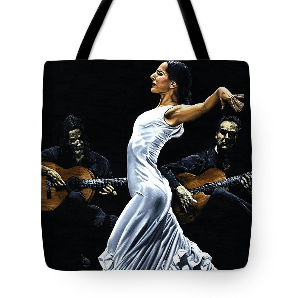 Flamenco Tote Bag featuring the painting Concentracion Del Funcionamiento Del Flamenco by Richard Young