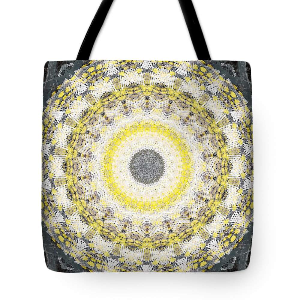 Concrete Tote Bag featuring the painting Concrete and Yellow Mandala- Abstract Art by Linda Woods by Linda Woods
