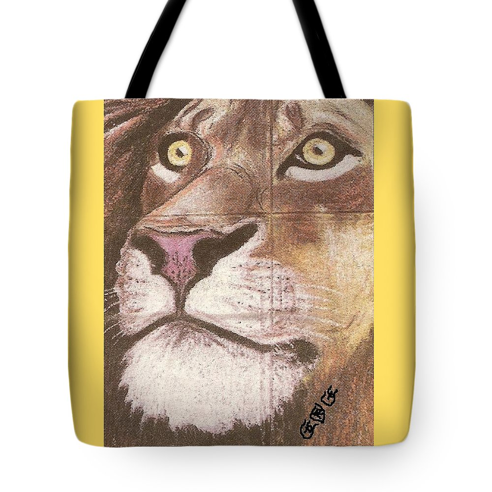 Lions Tote Bag featuring the painting Concrete Lion by George I Perez