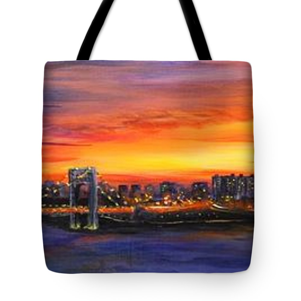 New York City Tote Bag featuring the painting Concrete Sunset by Laura Scheving