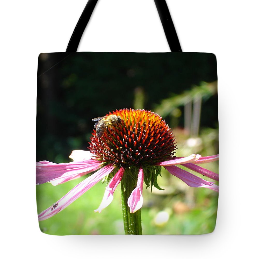 Flowers Tote Bag featuring the photograph Cone Flower And Honey Bee by Susan Baker